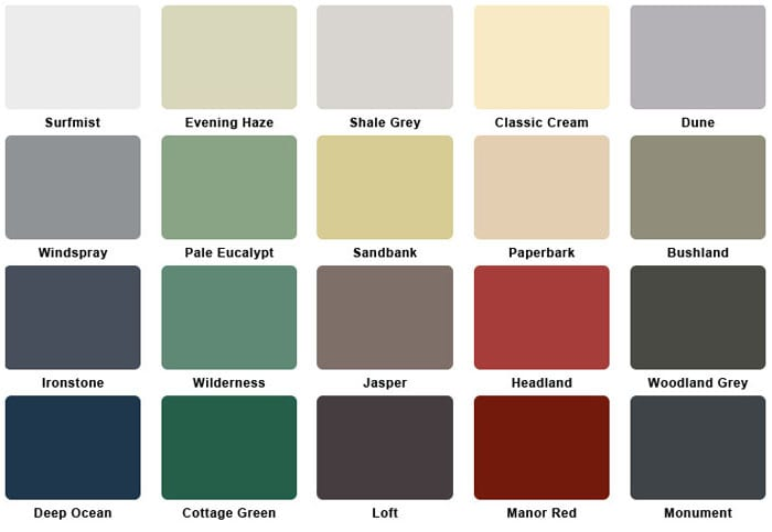 colours for roller shutters Perth
